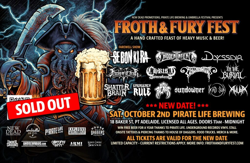 FROTH & FURY postponed to October 2nd.